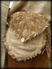 画像5: 残り1点☆ヒップバッグにもなる地球に優しい手紡ぎ・手織りヘンプ&ローシルクのhandmade妖精バッグ/ウエストバック/ピクシーバック (5)