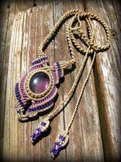 画像2: 1点もの アメジスト ネックレス*紫水晶 アメシスト*マクラメ ハンドメイド天然石アクセサリー (2)