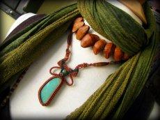 画像8: 大きなキングマンターコイズ&翡翠&アゲートのマクラメ編みネックレス*ボヘミアン*トラベラー (8)