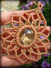 画像1: 上質ガーデンクォーツのロータスデザインネックレス*マクラメ*曼荼羅*庭園水晶*パワーストーン (1)