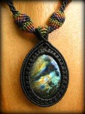 画像2: 1点物★上質カナダ産ラブラドライトのマクラメ編みネックレス*パワーストーン*天然石 (2)
