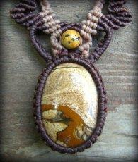 画像4: アースカラー★聖なる石ピクチャージャスパーのマクラメ編みネックレス*パワーストーン天然石 (4)