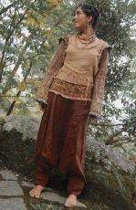 画像2: アイリッシュリネン&カディコットンのトライバル刺繍アラジンパンツ/アフガンパンツ*ヨガ*麻パンツ*スローファッション*メンズ (2)