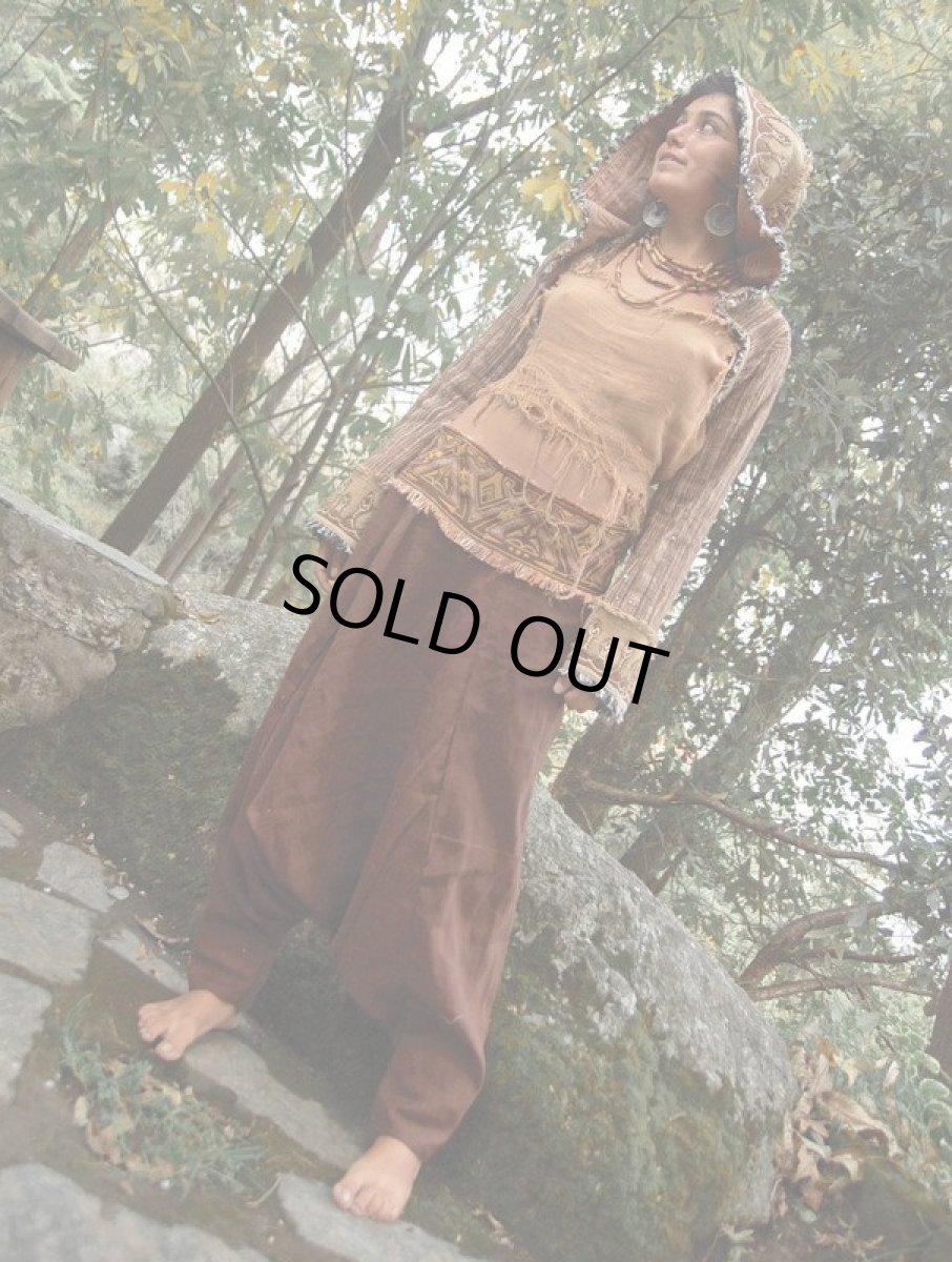 画像1: アイリッシュリネン&カディコットンのトライバル刺繍アラジンパンツ/アフガンパンツ*ヨガ*麻パンツ*スローファッション*メンズ (1)
