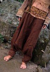 画像3: アイリッシュリネン&カディコットンのトライバル刺繍アラジンパンツ/アフガンパンツ*ヨガ*麻パンツ*スローファッション*メンズ (3)