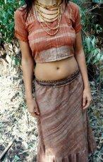 画像1: 地球に優しい手紡ぎ&手織りカディコットンのチョリ風デザイントップ*インドサリー*トラベラー*エシカルファッション (1)