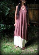 画像10: 再入荷★年中使える♪地球に優しい手紡ぎ・手織りローシルクのロングワンピース(brown&cream)*野蚕絹 (10)
