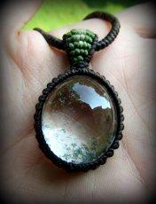 画像10: ブラジル産ガーデンクォーツのシンプルマクラメ編みネックレス/石包みペンダント*庭園水晶*天然石*パワーストーン (10)