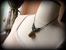 画像5: バルト海産アンバー琥珀コハク原石&ルチルクォーツのマクラメ編みネックレス*ヒッピー*ボヘミアン (5)