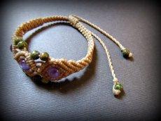 画像14: きらきらアメジスト&ユナカイトのマクラメ編みブレスレット*アメシスト*紫水晶*天然石ジュエリー*パワーストーン (14)