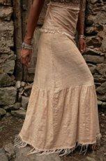画像3: 手織りフェアトレード カディコットン ナチュラルジプシーフリンジスカート*無染色*無地*ハンドメイド*ボヘミアン (3)
