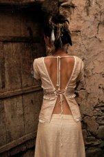 画像2: ナチュラル手織りフェアトレード カディコットン ハンドメイド 手刺繍サリートップ*エコファッション*ジプシー*民族衣装*ダンス衣装*ウェディング (2)