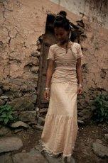 画像4: 手織りフェアトレード カディコットン ナチュラルジプシーフリンジスカート*無染色*無地*ハンドメイド*ボヘミアン (4)