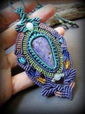 画像10: 1点物★癒しの石チャロアイトのマクラメ編みデザインネックレス*パワーストーン*天然石 (10)