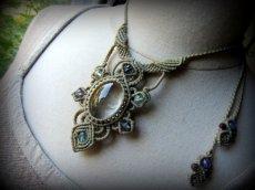 画像5: 1点物*大ぶりガーデンクォーツ&フローライトのデザインネックレス*庭園水晶*マクラメ*天然石 (5)