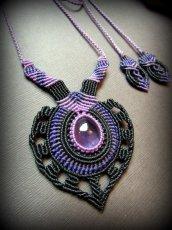 画像2: 女性の魅力を高めるアメジストのデザインネックレス*紫水晶*マクラメ*ハンドメイド*アメシスト*天然石 (2)