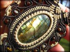 画像4: ログインで20%OFF♪ 1点物 全長4cmの大きな虹色 高品質ラブラドライト★マクラメ編みネックレス*天然石パワーストーン (4)