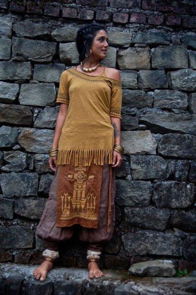 画像2: 1枚のみ再入荷★ネイティブアメリカン トライバル手刺繍パネルスカート brown*ユニセックス*ダンス衣装*オーガニック*エコファッション*無農薬
