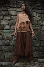 画像7: アイリッシュリネン&カディコットンのトライバル刺繍アラジンパンツ/アフガンパンツ*ヨガ*麻パンツ*スローファッション*メンズ (7)