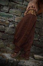 画像9: アイリッシュリネン&カディコットンのトライバル刺繍アラジンパンツ/アフガンパンツ*ヨガ*麻パンツ*スローファッション*メンズ (9)