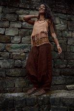 画像5: アイリッシュリネン&カディコットンのトライバル刺繍アラジンパンツ/アフガンパンツ*ヨガ*麻パンツ*スローファッション*メンズ (5)