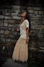 画像6: 手織りフェアトレード カディコットン ナチュラルジプシーフリンジスカート*無染色*無地*ハンドメイド*ボヘミアン (6)