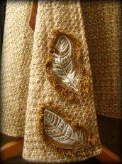画像7: Sサイズ再入荷!! 手織りウールのネイティブフェザー刺繍ロング巻きスカート*ハンドメイド*カディコットン (7)