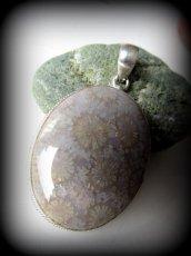 画像3: 特大フォシルコーラル珊瑚化石ペンダントトップ*シルバー*パワーストーン天然石サンゴ珊瑚 (3)