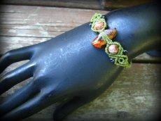 画像8: バルト海産アンバー原石/天然琥珀コハク&アゲートのマクラメ編みブレスレット (8)