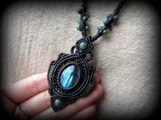 画像10: 青い閃光のラブラドライト(カナダ産)ネックレス*天然石ペンダント*マクラメアクセ*パワーストーン (10)