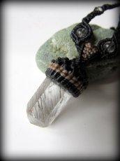 画像4: 仕事運・金運アップの石ブラックルチルクォーツ ネックレス*マクラメ編み*黒針水晶ポイント*トルマリンクォーツ (4)