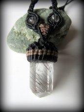 画像2: 仕事運・金運アップの石ブラックルチルクォーツ ネックレス*マクラメ編み*黒針水晶ポイント*トルマリンクォーツ (2)
