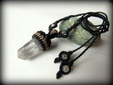 画像5: 仕事運・金運アップの石ブラックルチルクォーツ ネックレス*マクラメ編み*黒針水晶ポイント*トルマリンクォーツ (5)