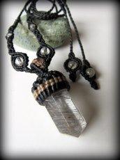 画像1: 仕事運・金運アップの石ブラックルチルクォーツ ネックレス*マクラメ編み*黒針水晶ポイント*トルマリンクォーツ (1)