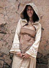 画像3: 手紡ぎ・手織りカディコットン ビッグフードショートジャケット 生成り ハンドメイド (3)