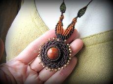 画像8: 太陽デザイン♪オレンジジェード翡翠マクラメ編みネックレス*天然石パワーストーン (8)