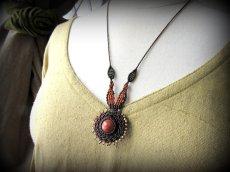 画像7: 太陽デザイン♪オレンジジェード翡翠マクラメ編みネックレス*天然石パワーストーン (7)