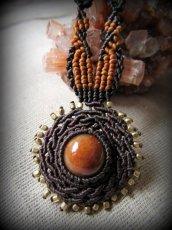 画像2: 太陽デザイン♪オレンジジェード翡翠マクラメ編みネックレス*天然石パワーストーン (2)