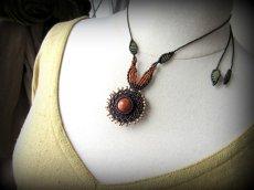 画像6: 太陽デザイン♪オレンジジェード翡翠マクラメ編みネックレス*天然石パワーストーン (6)