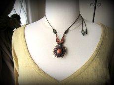 画像5: 太陽デザイン♪オレンジジェード翡翠マクラメ編みネックレス*天然石パワーストーン (5)