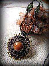 画像9: 太陽デザイン♪オレンジジェード翡翠マクラメ編みネックレス*天然石パワーストーン (9)