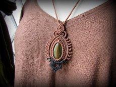 画像13: 自己実現の天然石★大ぶりタイガーアイのデザインネックレス*マクラメ*ハンドメイド (13)