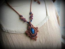 画像12: 青い閃光のラブラドライト&アメジストのネックレス*天然石ペンダント*マクラメ編み*パワーストーン (12)