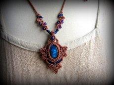 画像11: 青い閃光のラブラドライト&アメジストのネックレス*天然石ペンダント*マクラメ編み*パワーストーン (11)