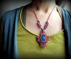 画像8: 青い閃光のラブラドライト&アメジストのネックレス*天然石ペンダント*マクラメ編み*パワーストーン (8)