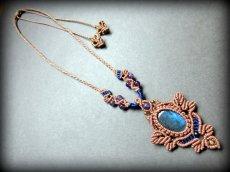 画像13: 青い閃光のラブラドライト&アメジストのネックレス*天然石ペンダント*マクラメ編み*パワーストーン (13)