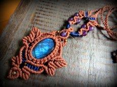 画像6: 青い閃光のラブラドライト&アメジストのネックレス*天然石ペンダント*マクラメ編み*パワーストーン (6)