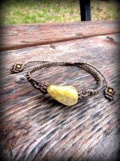 画像4: ゴールドルチルクォーツ天然石ブレスレット*ハンドメイド*マクラメ*パワーストーン天然石 (4)