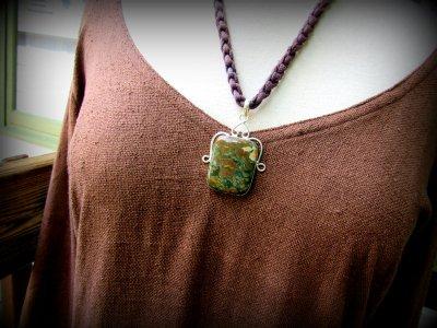 画像1: 大ぶり1点物ライオライト天然石ペンダントトップ*リョーライト流紋岩レインフォレストジャスパー