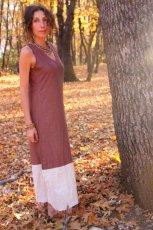 画像2: 再入荷★年中使える♪地球に優しい手紡ぎ・手織りローシルクのロングワンピース(brown&cream)*野蚕絹 (2)